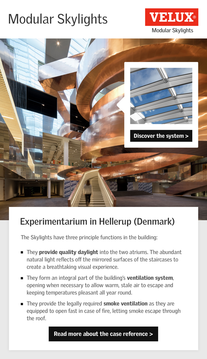 Velux Reference pour velux modular skylights system for experimentarium in hellerup